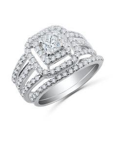 14K White Gold 1.25ctw Princess Cut Bridal Set Double Halo Split Shank 2pc Set