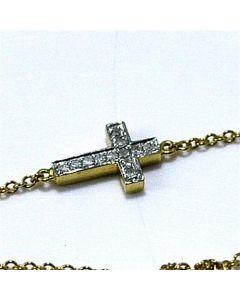 Diamond bracelet Cross with chain 10K Yellow gold 0.07ct 7inch
