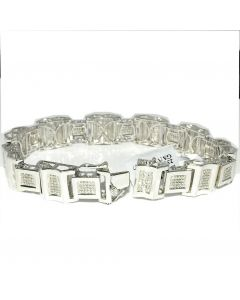 Men's Diamond Bracelet Sterling Silver White Gold finish 0.55ct Measures 13MM Wide