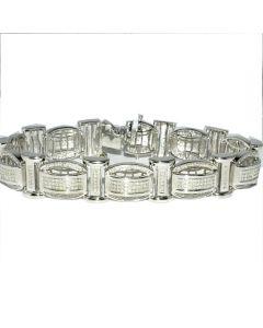 Men's Diamond Bracelet 1ct w Sterling Silver 500 Diamonds White Gold finish Measures 15MM Wide