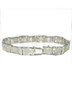 Men's Diamond Bracelet 2ct w Sterling Silver 1000 Diamonds White Gold finish Measures 10.4MM Wide