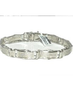 Men's Diamond Bracelet 1.5ct w Sterling Silver 800 Diamonds White Gold finish Measures 10MM Wide