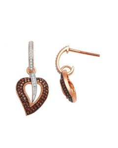 Rose Gold Earrings Cognac and White Diamonds Drop Leaf Earrings 0.3ct 10kr Heart
