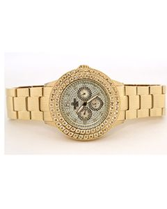 Mens Diamond Watch Bling II 50mm Dial 0.50ctw Diamond Gold Tone Dial