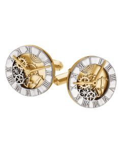 14kt Two-Tone Clock Design Cuff Links