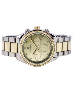 Mens or Womens Diamond Watch Two Tone California 42mm Dial 0.10ctw Diamond Gold Tone Dial