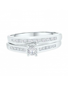 Engagement Rings Set For Her White Gold With 1/2ctw Diamonds Round Solitaire Center 10K Womens Wedding Set