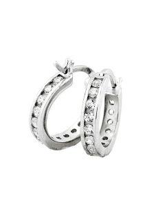 Mens or Womens CZ Round Hoop Earrings 15MM Sterling Silver