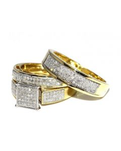 His Her Wedding Rings Set Trio Men Women 10k Yellow Gold 0.6cttw(i2/i3 Clarity, I/j Color)