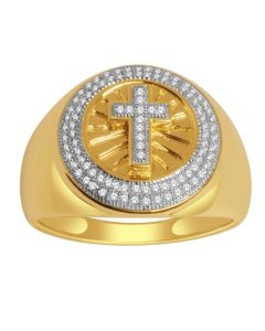 10K Gold Cross Ring 17mm Wide 0.3ct Diamonds Mens Ring With Cross