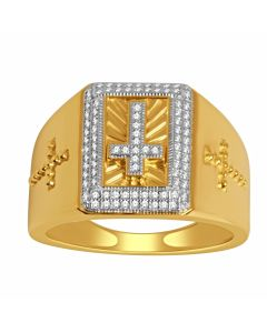 10K Yellow Gold Cross Ring For Men 16mm Wide 0.25ct Diamonds Mens Ring With Cross