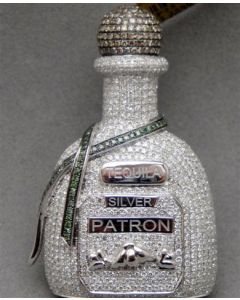 Tequila Patron Bottle Custom made White Gold 4ct Diamonds