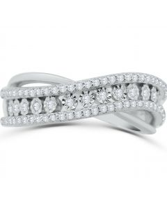 14K White Gold Band Style Ring Cross Over 0.42ctw Diamonds Ladies Anniversary Band