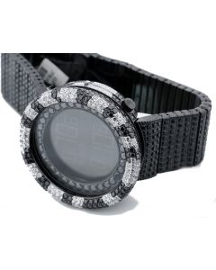 Mens Digital KC Watch Black and White Cz Fully Iced Out 50mm Bazel