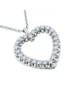14K White Gold Heart Pendant and Necklace Set 3/4ctw Diamond 16 Inch Necklace