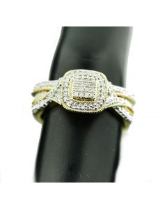 10K Gold Bridal Set Halo Style With Infinity Sides 0.25ctw