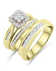 10K Gold Trio Ring Set His and Her Rings 1.25ctw Extra Wide Halo Style Bridal Set and Mens 6mm Wedding Band