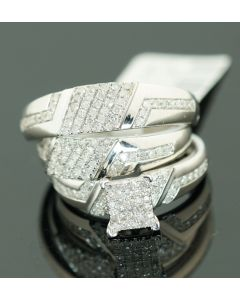 His and Her Trio Rings Set 10k White Gold 3/4cttw Diamonds Mens Womens Rings