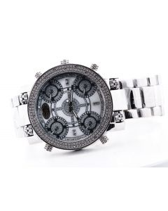 Grand Master Mens Watch Stainless Steel 51mm Extra Large Case 5 Time Zone 0.22ct Diamond