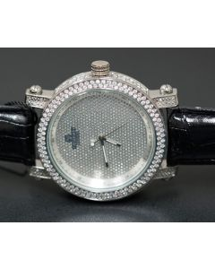 Mens Real Diamond Watch 0.12ct Diamond Max Full Case Bazel 50mm Xtra Bands