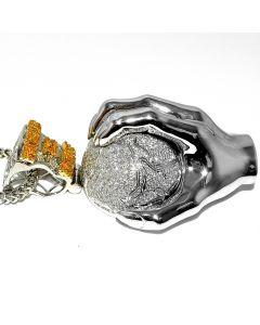 "Diamond Mens Charm XL World is Mine 14K White Gold 5ct 3.5"" Big Globe with Hand Estate Sale"