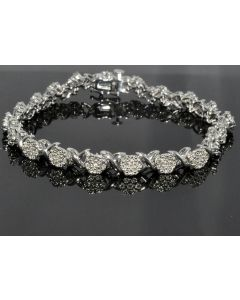 Diamond Tennis Bracelet Ladies Flower set 2ct look 0.55ctw Diamond Length 7.25