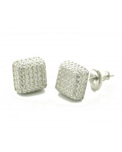 Mens Fashoin Stud Earrings Sterling Silver With Simulated Diamonds Screw Back 8mm Cube Shaped 3d