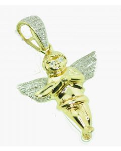 10K Gold Angel Pendant With Diamonds 0.14ctw 1.5 Inch Real Diamond Angel For Men or Womens