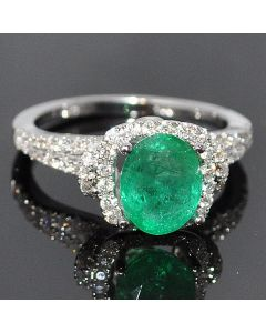 Green Emerald & Diamond Engagement Ring 2.54ctw Genuine 14K White Gold Vintage