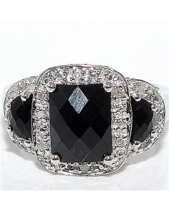 Black Onyx and White Diamond 0.16ct 10K White Gold Ladies Gemstone Ring 13mm