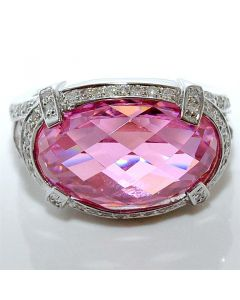 Real Diamond and Pink Quartz Vintage Ring 0.35ct White Gold Gemstone 9mm big