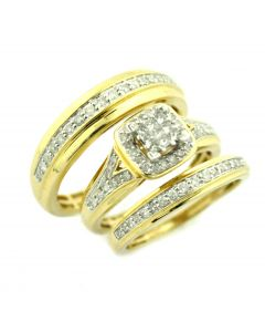 Trio Ring Set His and Her Rings 10K Gold 0.75ctw Diamond Princess Cut and round Diamonds