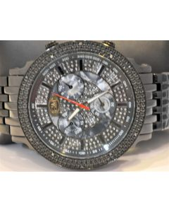 MENS DIAMOND .12CT WATCH BLACK METAL PVD GRAND MASTER NEW METAL BAND 52MM
