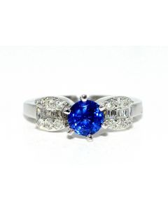 Blue Sapphire and Diamond Engagement Ring 18K White Gold Baguette and Round Sides 1.5ct