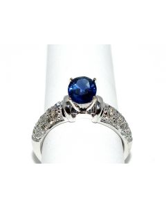 2.25ct diamond and Blue Sapphire Ring 1.5ct Solitaire 14K White Gold SI Comfort
