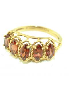 10K Gold Ladies Garnet Ring Marquise Shaped 5 Stones
