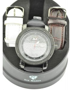 Diamond Watch for Guys Ice Mania 12 Diamonds Black PVD Finish