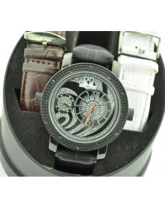 ICE Mania Diamond Watch Mens 0.12ctw 50mm Black Metal