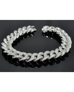 Diamond Bracelet Mens Custom made Cuban Link Curb Link 10K Solid White Gold 11ct