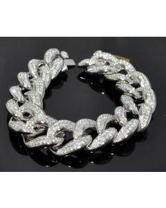 Diamond Bracelet Mens Custom made Cuban Link Curb Link 10K Solid White Gold 16ct