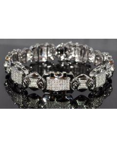 MEN DIAMOND BRACELET 0.75CT REAL DIAMONDS WHITE GOLD FINISH STERLING SILVER 8.5
