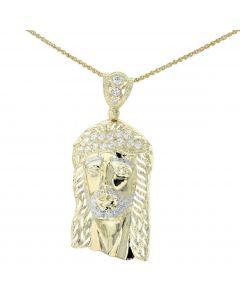 10K Yellow Gold Pendant With Jesus Head Round Cubic Zirconia Jesus Face