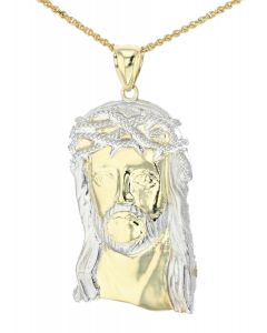 10K Yellow And White Gold Jesus Head Charm Pendant With Cubic Zirconia
