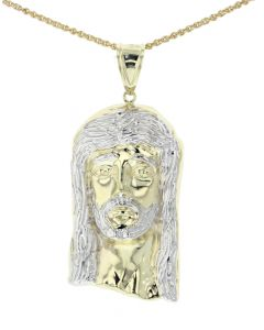 Jesus Head Charm Pendant in 10K Yellow and White Gold