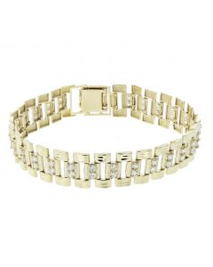 10K Yellow Gold Rolex Style Jubilee Bracelet With Cubic