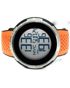 Gucci Mens Watch with diamonds digital 3 rows of diamonds orange rubber strap 2.25ctw
