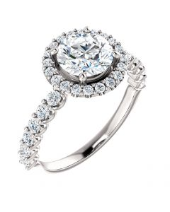 14K White Gold Round Outline Halo Pave Engagement Ring 3/4ctw