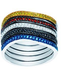 Stackable 5 diamond bands 0.5ct 10K blue black red yellow white diamonds