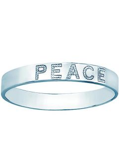 PEACE diamond bracelet in sterling silver bangle stackable