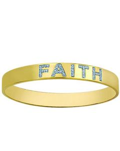 FAITH bracelet bangle Gold finish Sterling 0.06ct diamonds stackable